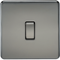 10A 1G 2 Way 230V Screwless Black Nickel Electric Wall Plate Switch by KnightsBridge