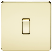 10A 1G 2 Way 230V Screwless Polished Brass Electric Wall Plate Switch by KnightsBridge