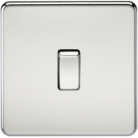 10A 1G 2 Way 230V Screwless Polished Chrome Electric Wall Plate Switch by KnightsBridge