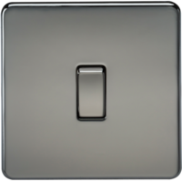 KnightsBridge 20A 1G DP 230V Screwless Black Nickel Electric Wall Plate Switch