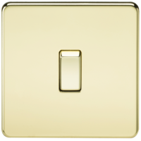 20A 1G DP 230V Screwless Polished Brass Electric Wall Plate Switch by KnightsBridge