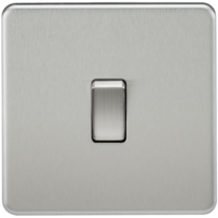 10A 1G 230V Screwless Brushed Chrome Intermediate Switch Wall Plate by KnightsBridge
