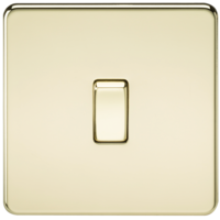 10A 1G 230V Screwless Polished Brass Intermediate Switch Wall Plate by KnightsBridge