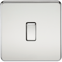 10A 1G 230V Screwless Polished Chrome Intermediate Switch Wall Plate by KnightsBridge