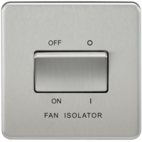 KnightsBridge 10A 1G 3 Pole 230V Screwless Brushed Chrome Electric Fan Isolator Switch
