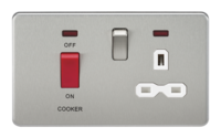 KnightsBridge 45A 2G DP 230V Screwless Brushed Chrome Switch With Neon & Socket (Option: White Insert)