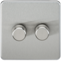 KnightsBridge 10-200W 2G 2 Way Screwless Brushed Chrome 230V Electric Dimmer Switch Led Compatible