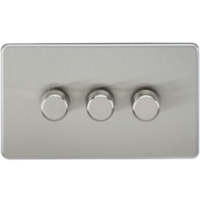 KnightsBridge 60-400W 3G 2 Way Screwless Brushed Chrome 230V Electric Dimmer Switch