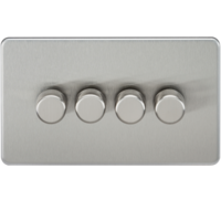 KnightsBridge 60-400W 4G 2 Way Screwless Brushed Chrome 230V Electric Dimmer Switch