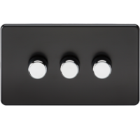 10-200W 3G 2 Way 230V Screwless Matt Black Electric Dimmer Switch Led Compatible by KnightsBridge