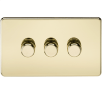 KnightsBridge 60-400W 3G 2 Way 230V Screwless Polished Brass Electric Dimmer Switch