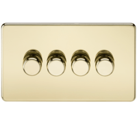 KnightsBridge 60-400W 4G 2 Way 230V Screwless Polished Brass Electric Dimmer Switch