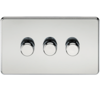 KnightsBridge 60-400W 3G 2 Way 230V Screwless Polished Chrome Electric Dimmer Switch