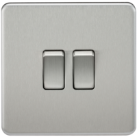 KnightsBridge 10A 2G 2 Way 230V Screwless Brushed Chrome Electric Wall Plate Switch