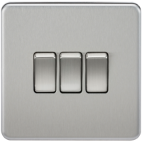 KnightsBridge 10A 3G 2 Way 230V Screwless Brushed Chrome Electric Wall Plate Switch