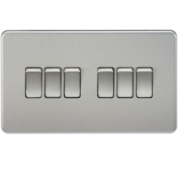 KnightsBridge 10A 6G 2 Way 230V Screwless Brushed Chrome Electric Wall Plate Switch
