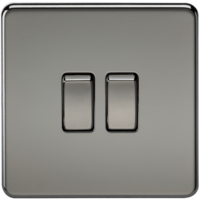 10A 2G 2 Way 230V Screwless Black Nickel Electric Wall Plate Switch by KnightsBridge