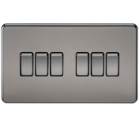 10A 6G 2 Way 230V Screwless Black Nickel Electric Wall Plate Switch by KnightsBridge