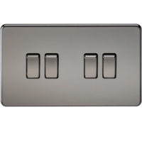 10A 4G 2 Way 230V Screwless Black Nickel Electric Wall Plate Switch by KnightsBridge