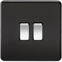 KnightsBridge 10A 2G 2 Way 230V Screwless Matt Black Electric Wall Plate Switch