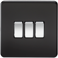 10A 3G 2 Way 230V Screwless Matt Black Electric Wall Plate Switch by KnightsBridge