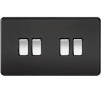 KnightsBridge 10A 4G 2 Way 230V Screwless Matt Black Electric Wall Plate Switch