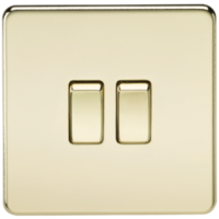 KnightsBridge 10A 2G 2 Way 230V Screwless Polished Brass Electric Wall Plate Switch