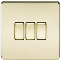 10A 3G 2 Way 230V Screwless Polished Brass Electric Wall Plate Switch by KnightsBridge