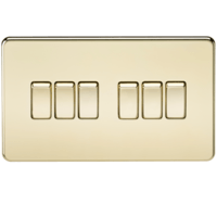 KnightsBridge 10A 6G 2 Way 230V Screwless Polished Brass Electric Wall Plate Switch