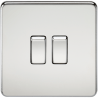 KnightsBridge 10A 2G 2 Way 230V Screwless Polished Chrome Electric Wall Plate Switch