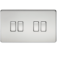 10A 4G 2 Way 230V Screwless Polished Chrome Electric Wall Plate Switch by KnightsBridge