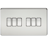KnightsBridge 10A 6G 2 Way 230V Screwless Polished Chrome Electric Wall Plate Switch