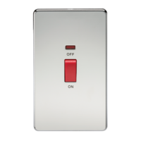 45A 2G DP 230V Screwless Polished Chrome Electric Switch With Neon by KnightsBridge