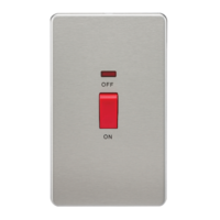 KnightsBridge 45A 2G DP 230V Screwless Brushed Chrome Switch With Neon