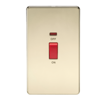 KnightsBridge 45A 2G DP 230V Screwless Polished Brass Electric Switch With Neon