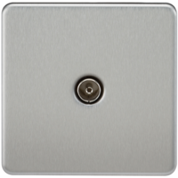Coaxial TV Outlet 1G Screwless Brushed Chrome Un-Isolated Wall Plate by KnightsBridge