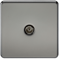KnightsBridge Coaxial TV Outlet 1G Screwless Black Nickel Un-Isolated Wall Plate