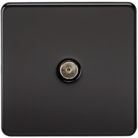 KnightsBridge Coaxial TV Outlet 1G Screwless Matt Black Un-Isolated Wall Plate