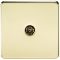 Coaxial TV Outlet 1G Screwless Polished Brass Un-Isolated Wall Plate by KnightsBridge