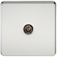 Coaxial TV Outlet 1G Screwless Polished Chrome Un-Isolated Wall Plate by KnightsBridge