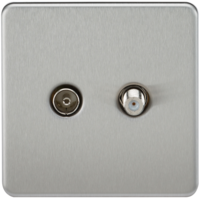 KnightsBridge Coaxial TV and SAT TV Outlet 1G Screwless Brushed Chrome Isolated Wall Plate