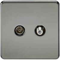 Coaxial TV and SAT TV Outlet 1G Screwless Black Nickel Isolated Wall Plate by KnightsBridge