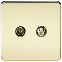 KnightsBridge Coaxial TV and SAT TV Outlet 1G Screwless Polished Brass Isolated Wall Plate