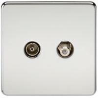 KnightsBridge Coaxial TV and SAT TV Outlet 1G Screwless Polished Chrome Isolated Wall Plate