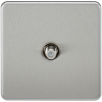 KnightsBridge SAT TV Outlet 1G Screwless Brushed Chrome Non-Isolated Wall Plate