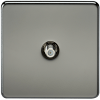 SAT TV Outlet 1G Screwless Black Nickel Non-Isolated Wall Plate by KnightsBridge