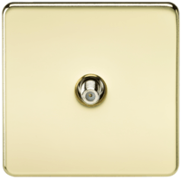 KnightsBridge SAT TV Outlet 1G Screwless Polished Brass Non-Isolated Wall Plate