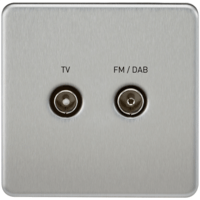 Screened Diplex TV and FM DAB Outlet 1G Screwless Brushed Chrome Wall Plate by KnightsBridge