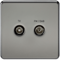 KnightsBridge Screened Diplex TV and FM DAB Outlet 1G Screwless Black Nickel Wall Plate