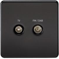 KnightsBridge Screened Diplex TV and FM DAB Outlet 1G Screwless Matt Black Wall Plate